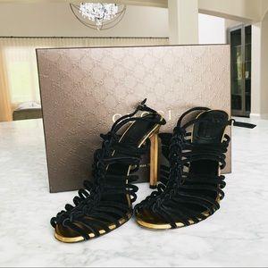 Gucci Black Suede Strapless Heels